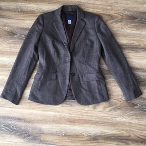 J Crew Brown Tweed 100% Wool Blazer